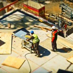 two men on a construction site